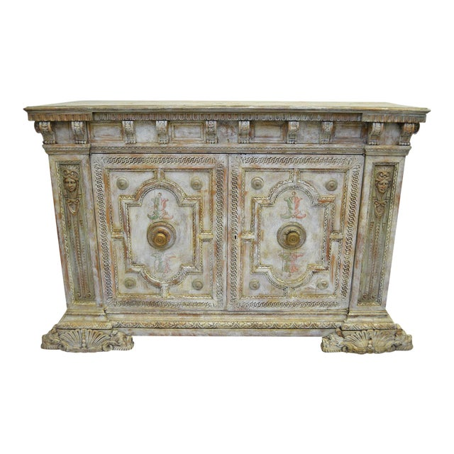 18th Century Hand Painted Italian Two Door Cupboard Gianni Versace Ex Property For Sale