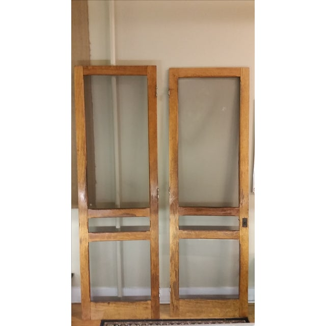 Oak Tiger Oak Plantation Style Screen Doors - A Pair For Sale - Image 7 of 9
