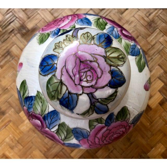 Hand Painted Rose Floral Porcelain Ginger Jar For Sale - Image 4 of 7