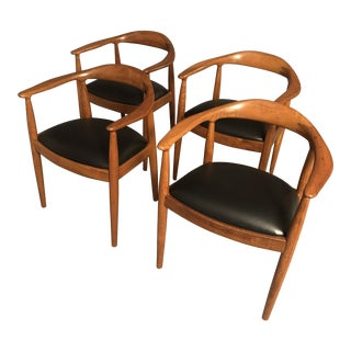 Vintage Mid Century Hans Wegner Style Curated Teak Dining Chairs- Set of 4 For Sale