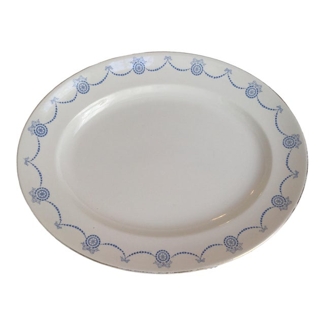 Blue & White Oval Imperial Porcelain Platter For Sale