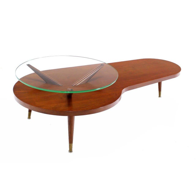 Brown Mid Century Modern Walnut Organic Kidney Shape Coffee Table Round Glass Top For Sale - Image 8 of 10