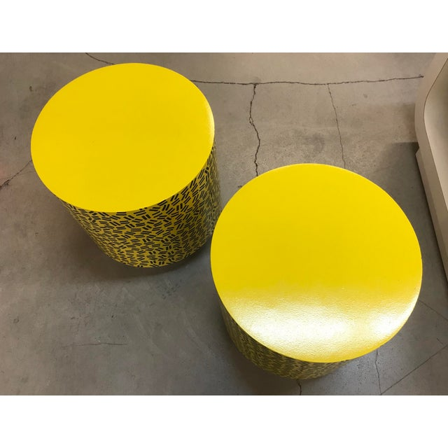Pop Art Post Modern Cylinder Side Tables -A Pair For Sale - Image 4 of 7