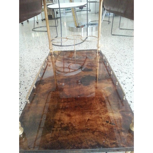 Mid-Century Modern Bar Cart in Lacquered Goatskin and Gold Plate by Aldo Tura For Sale - Image 10 of 13