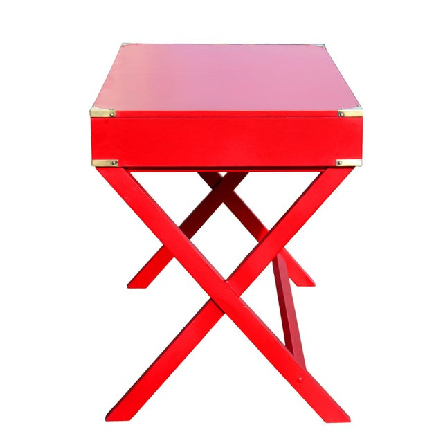 "1970s Campaign Desk in ""Lipstick"" Red & Brass Hardware For Sale - Image 4 of 7"