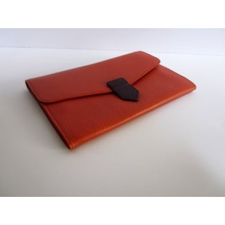 Orange Leather Travel Wallet Purse Italy Preview