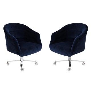 Ward Bennett Navy Swivel Chairs For Sale