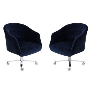 Ward Bennett Navy Swivel Chairs - a Pair For Sale
