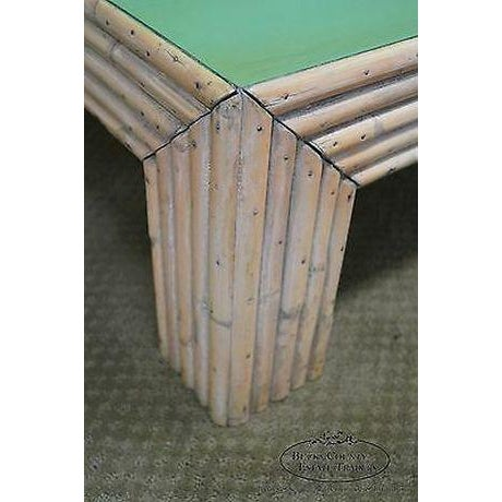 Art Deco Vintage Art Deco Rattan Bamboo Coffee Table For Sale - Image 3 of 13