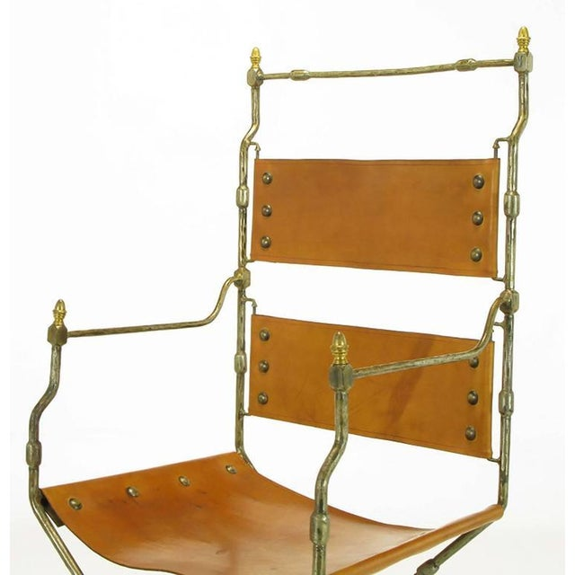 Animal Skin Four Custom Leather and Hand-Forged Iron X-Base Sling Chairs For Sale - Image 7 of 10