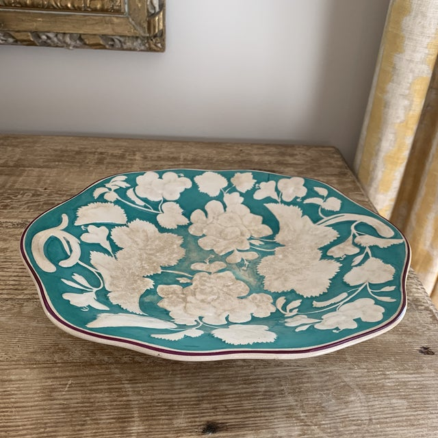 Antique 1860 English Davenport Majolica Geranium Patter Footed Platter For Sale - Image 9 of 9