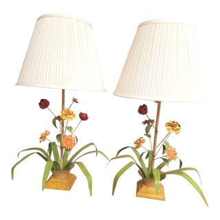 Vintage Italian Painted Floral Tole Table Lamps - a Pair