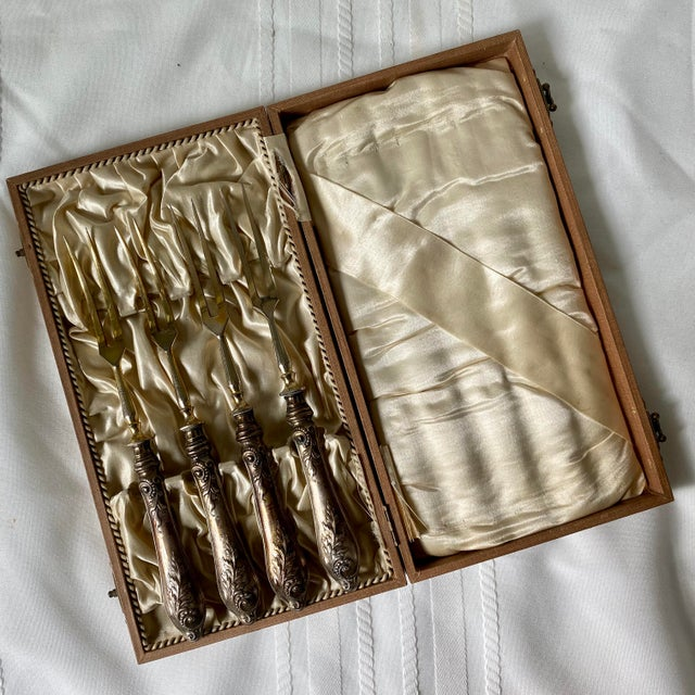 Antique 800 Silver Meat Forks by Stahl in Box - Set of 5 For Sale - Image 10 of 10