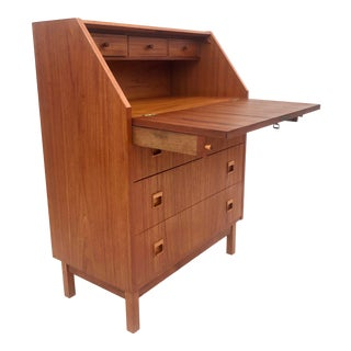 Mid-Century Teak Drop Front Secretary Desk For Sale