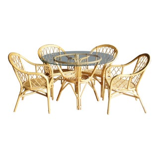 Boho Chic Diamond Pattern Rattan Dining Set With 4 Armchairs, Set of 5 For Sale