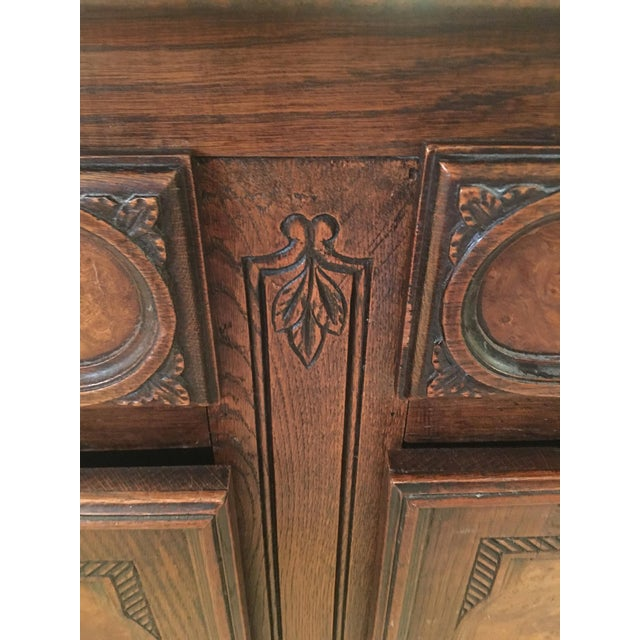 French Louis XV Style Carved Oak and Walnut Sideboard For Sale - Image 4 of 11