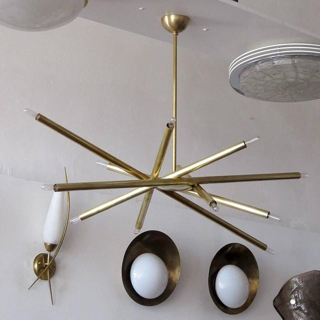 Raw Brass & Spiral Chandelier For Sale - Image 4 of 11