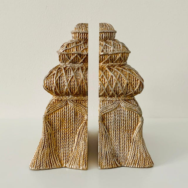 Art Deco Gold and Silver Ceramic Tassel Bookends - a Pair For Sale - Image 3 of 6