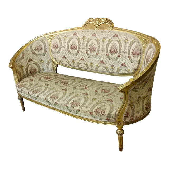 19th Century Beautiful Louis XV Carved Gilt & Tapestry Canopy Sofa For Sale