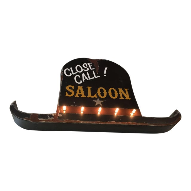 Vintage 40s Style Western Close Call Saloon Sign - Image 1 of 11