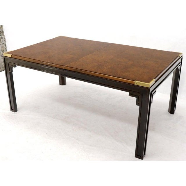 Large Burlwood Dining Table With Brass Accents and Two Extension Leaves Boards For Sale - Image 9 of 11