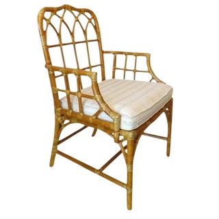 "1970s Vintage McGuire Boho Chic Bent Rattan ""Cathedral"" Armchair For Sale"