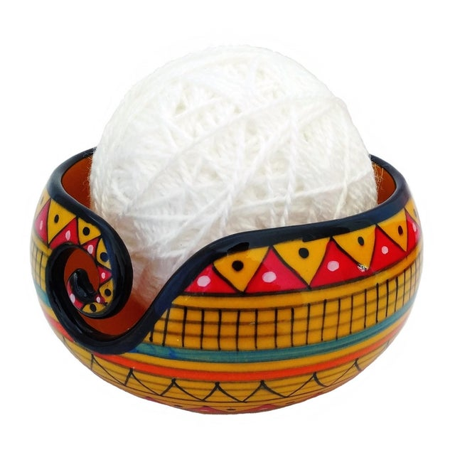 Modern African Handcrafted Yellow Ceramic Knitting Yarn Bowl Holder For Sale - Image 3 of 6