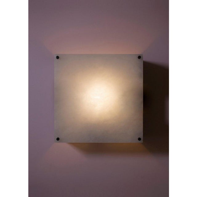 2010s Modern Contemporary 000a Sconce in Alabaster and Blackened Brass by Orphan Work For Sale - Image 5 of 5