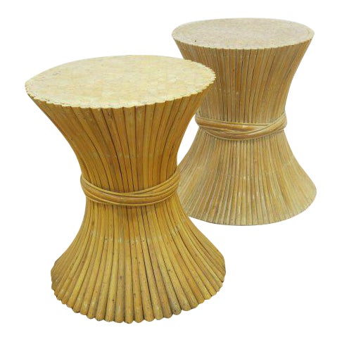 McGuire Rattan Table Bases - Set of 2 - Image 1 of 4