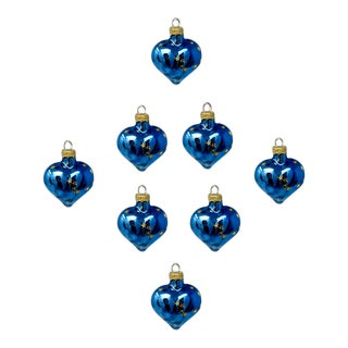 Vintage Astor Baumschmuck Collectible Christmas Holiday Glass Heart Ornaments – Set of Eight For Sale