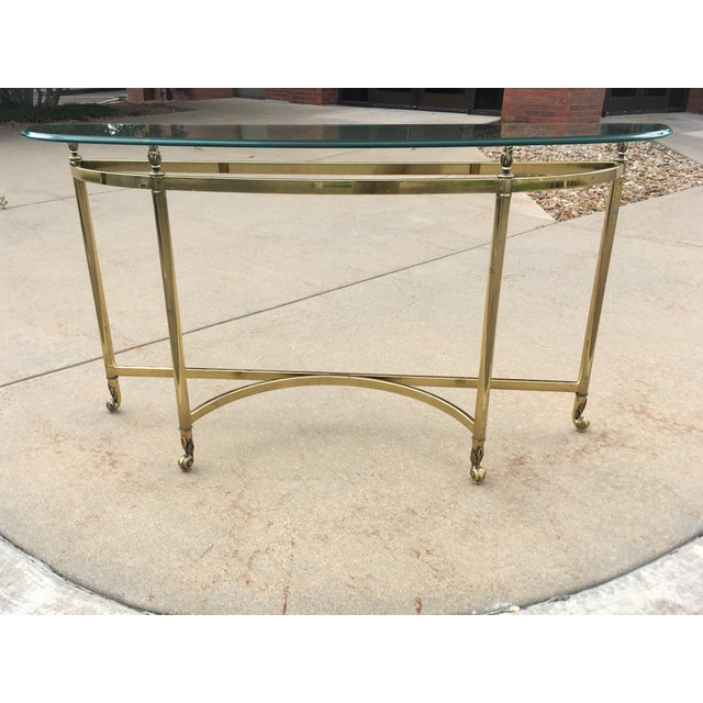 "Hollywood Regency brass and thick beveled glass demi-lune table by Labarge made in Italy c1960s Base Dimensions: 49"" -..."