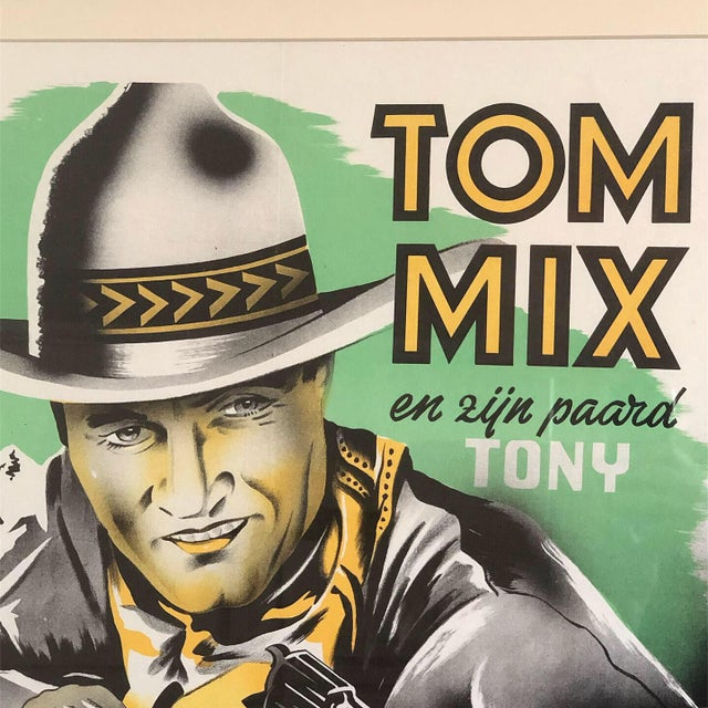 cd9f4b6b Modern 1940s Vintage Tom Mix Western Movie Poster For Sale - Image 3 of 9