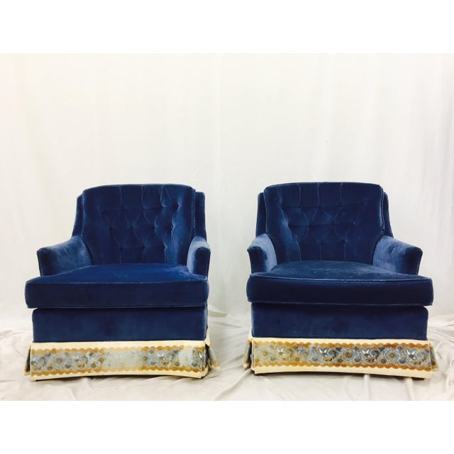 Navy Blue Velvet Club Chairs - a Pair - Image 2 of 8