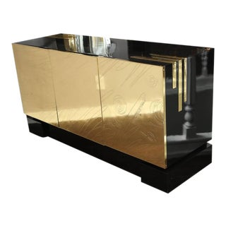Belgium Etched Brass Credenza For Sale