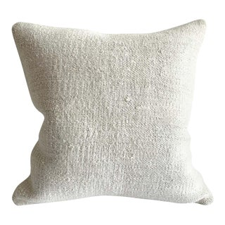 Vintage Turkish Rug Pillow Cover in Off White Soft Hemp For Sale
