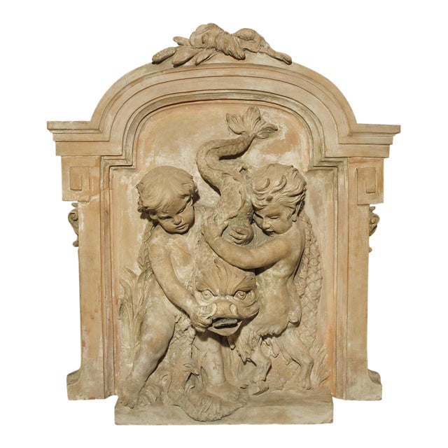 Antique French Terra Cotta Fountain Back, Circa 1860 For Sale
