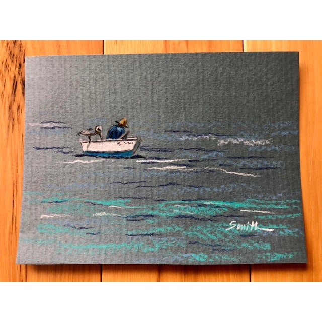 """2010s """"The Fisherman"""" Colored Pencil Drawing For Sale - Image 5 of 5"""