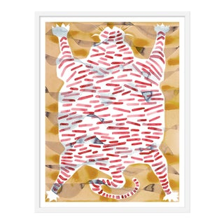 "Medium ""Tiger Rug Tan & Red"" Print by Kate Roebuck, 27"" X 35"" For Sale"