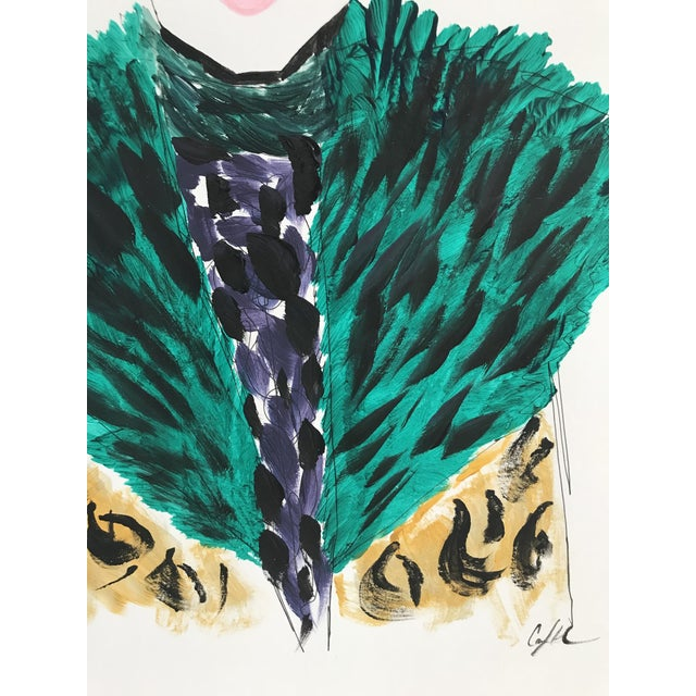 Original art by Carly Kuhn. Inspired by a Dries Van Noten fashion editorial shoot. Ink, watercolor marker and arcrylic paint.