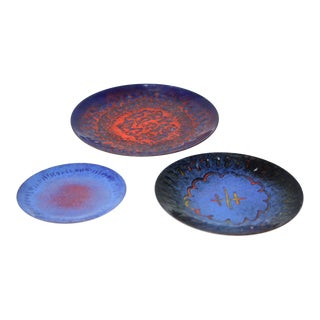 Trio of Small Modernist Enamel on Copper Decorative Dishes For Sale