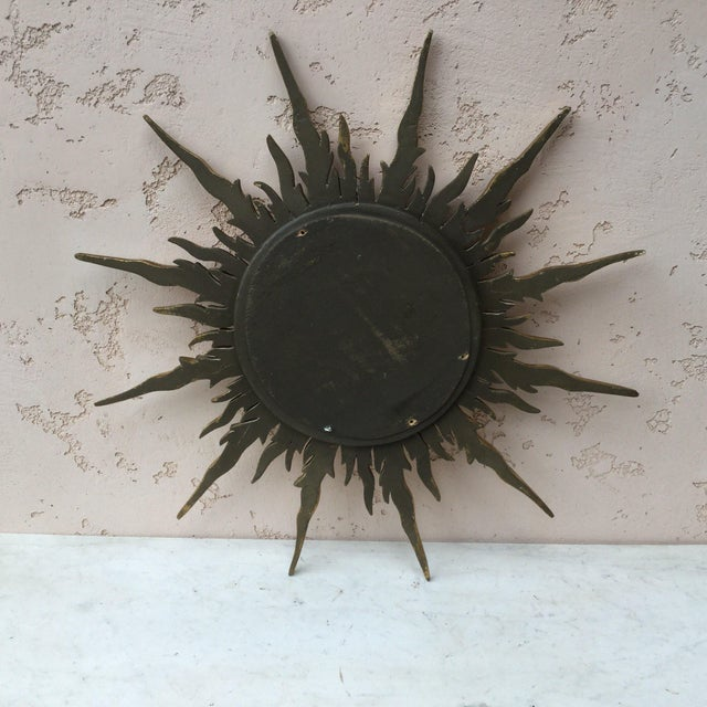 French Gilded Wood Convex Sunburst Mirror For Sale In Austin - Image 6 of 7