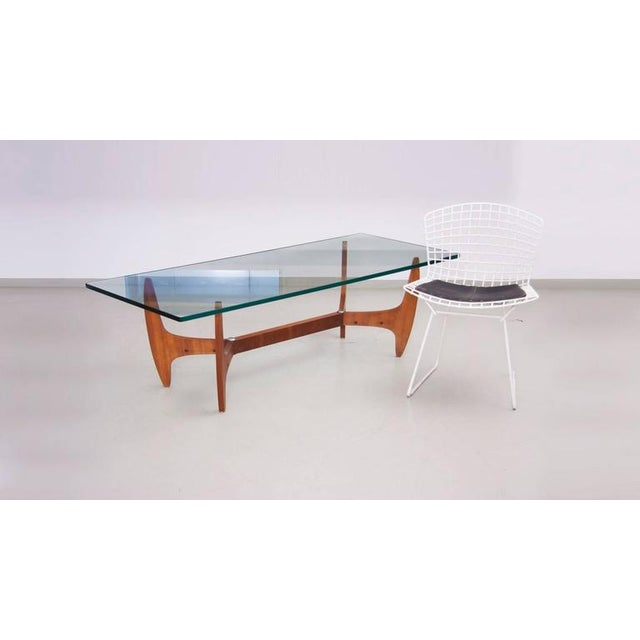 Large Brazilian Midcentury Coffee Table with Thick Glass Top For Sale - Image 6 of 8