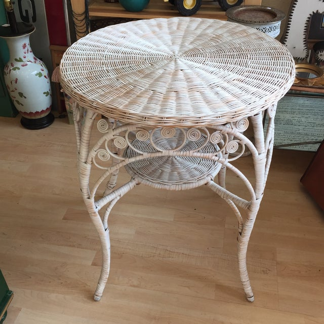 Vintage White Wicker Side Table - Image 2 of 6
