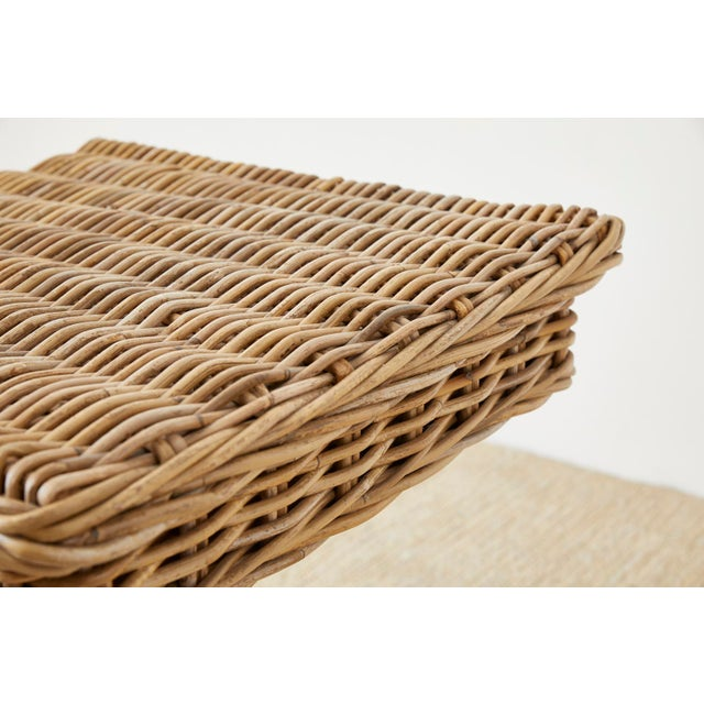 Woven Wicker and Rattan Pedestal Center Table For Sale - Image 11 of 13