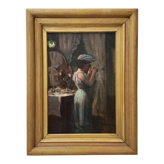 19th Century Elegant Woman at Dressing Table Oil Painting For Sale