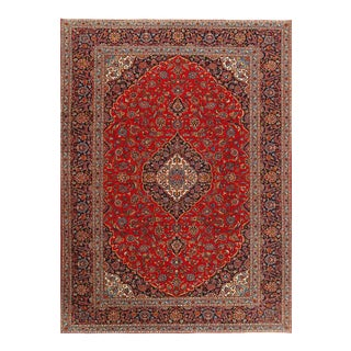 Red Semi Antique Persian Hand Knotted Fine Kashan 10' X 13' For Sale