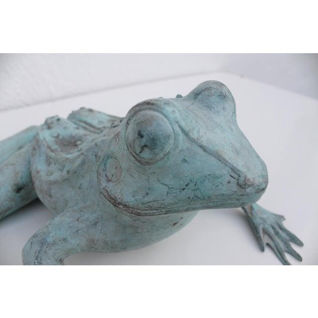 Metal Vintage Bronze Frog Garden Statue For Sale - Image 7 of 8