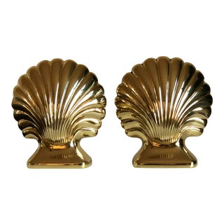 Vintage Baldwin Brass Clam Seashell Bookends - a Pair For Sale