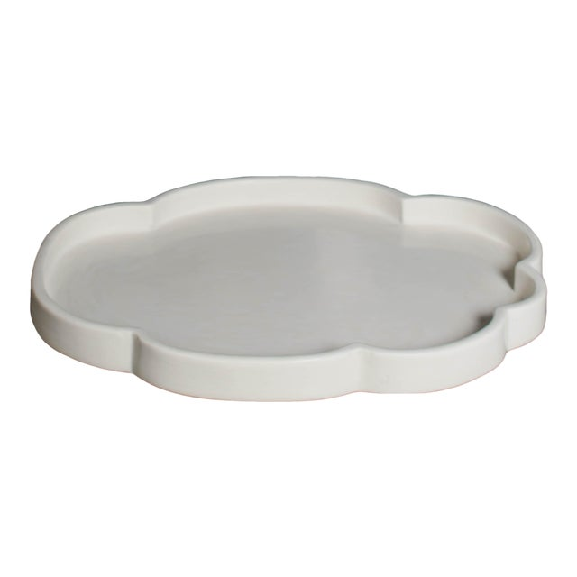Cloud Design Cream Lacquer Tray by Robert Kuo For Sale