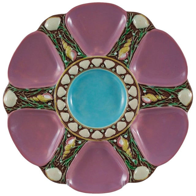 1870's Vintage Minton Majolica Pink Oyster Plate For Sale